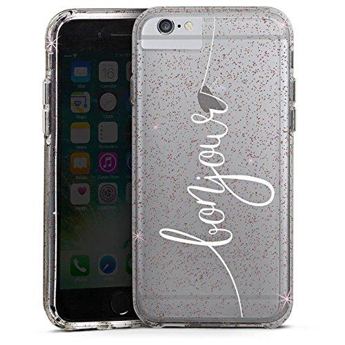 Apple iPhone 6s Plus Bumper Hülle Bumper Case Glitzer Hülle Bonjour ohne Hintergrund Frankreich Bumper Case Glitzer rose gold