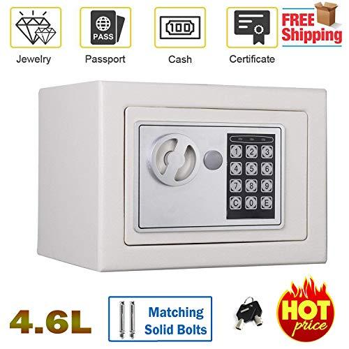Caja Blanca de Seguridad Digital de 4,6 L para casa o Oficina, Caja de Seguridad Impermeable y Segura para el hogar o para Montar en la Pared o en el Suelo