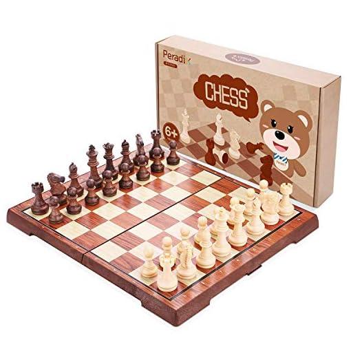 Peradix-Schachspiel-mit-Aufbewahrungsbeutel-Magnetischem-Einklappbar-Deluxe-Schachbrett-mit-Aufbewahrungsbeutel-Schach-fr-Kinder-ab-6-Jahre-und-Erwachsene-aus-WPC-3530cm-Braun