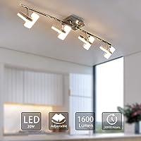 PADMA LED Kitchen Lights Ceiling Lighting Fitting 4 Way Ceiling Spotlights Silver Chrome Straight Bar Adjustable Square Lamp, 4 x 5W 3000K Modern Indoor Spot Lights for Living Room Bedroom
