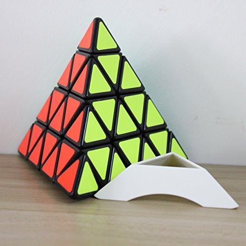 d pyraminx zauberwürfel geschwindigkeit puzzle - würfel mit einer anzeige stand (schwarz) (Schwarz Bald Cap)