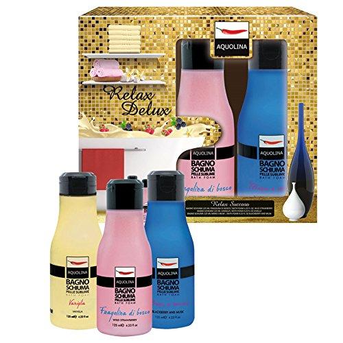Gift Set Relax Succoso pour Femme: Bagno Schiuma Fragolina di Bosco da 125 ml + Bagno Schiuma More e Musk da 125 ml + Bagno Schiuma Vaniglia da 125 ml