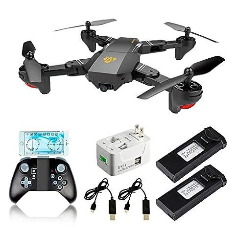 XS809 Selfie Faltbarer RC Quadcopter Drone mit Höhenhaltung FPV VR Wifi Weitwinkel 720P 2MP HD Kamera 2.4GHz 6-Achsen Gyro Headless Mode A Key Return XS809 Drone für Kinder und Anfänger (XS809 drone+2 battery+1Ladegerät)