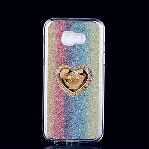 Samsung Galaxy A5 (2017) Hülle, MUTOUREN Samsung Galaxy A5 (2017) Etui Hülle Tasche Schutzhülle TPU Silikon Case Cover Bling Glitzer Bunt Bumper mit Ring und Anti-Scratch Löschen Back Bumper (Pokemon Geschenk-karte)