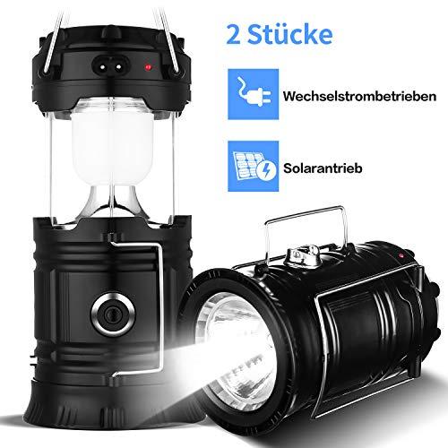 Menton Ezil 2-in-1 LED Aufladbare Camping Laterne mit Solarpanel 6 + 1 Super hell Taschenlampe Faltbare Zeltlampe Wasserdichte Nachtlicht für Outdoor, Wandern, Angeln, Notfälle (2er Pack)