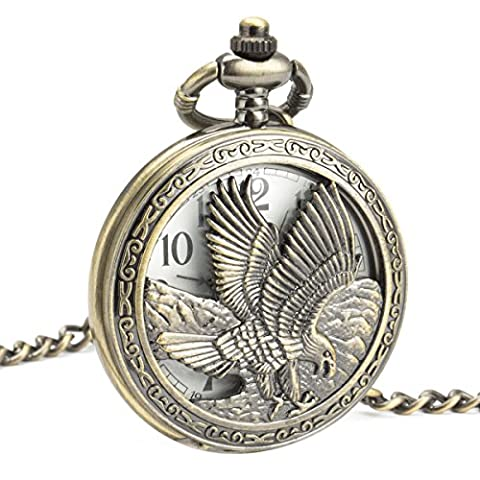 SIBOSUN Antique Eagle Design Pocket Watch With Chain Quartz 50MM Arabic Numerals for Eagle Scout Gift Box