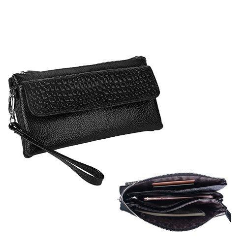 Preisvergleich Produktbild Cyber Monday Woche-Damen großes Fassungsvermögen Leder Geldbörse Smartphone/Clutch mit Schultergurt