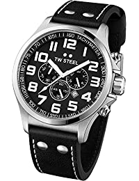 TW Steel Unisex-Armbanduhr Pilot Chronograph leder schwarz TW413