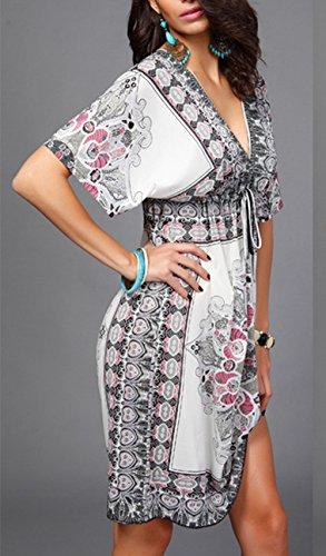 Femme Sexy d'été Bohème Robe Manches Chauve-souris Col en V Robe de Plage Glace Soie vintage Tunique D'été Lâche Taille Plus Blanc