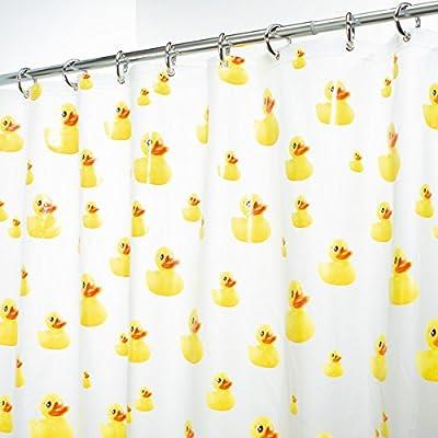 mDesign rideau de douche anti-moisissure – 180 x 200 cm – rideau de baignoire étanche, avec motifs canards – accessoire de salle de bain avec 12 anneaux renforcés pour suspension facile, jaune/orange