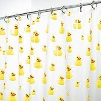mDesign cortina de baño antimoho - 180 cm x 200 cm - Cortina ducha con 12 anillas de metal resistente - Cortina bañera impermeable color amarillo / naranja - Modelo patos