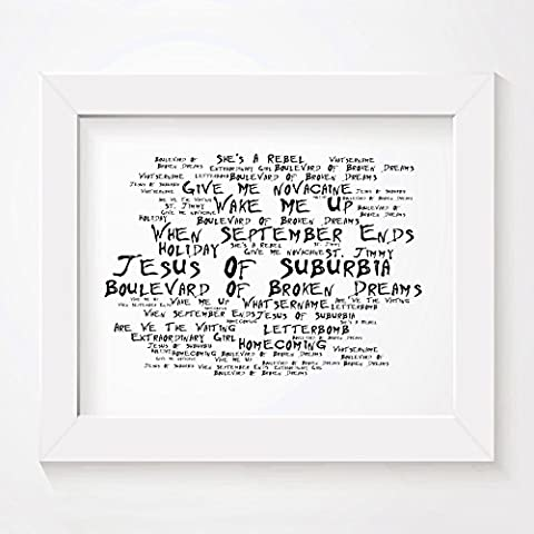 `Noir Paranoiac` Art Print - GREEN DAY - American Idiot - Signed & Numbered Limited Edition Typography Unframed 10x8 Inch Album Wall Art Print - Song Lyrics Mini