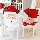Eleery 2er Weihnachtsmann Red Hat Stuhlhussen set Deko für Weihnachtsfest Ferien Stuhl Weihnachten Cap Sets Stuhlabdeckung Tisch Weihnachtsdekoration (Frohes Weihnachten)