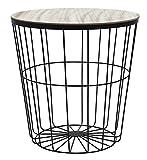 Dynamic24 Design Metall Beistelltisch Couchtisch Tisch Ablage Sofatisch Nachttisch Korb