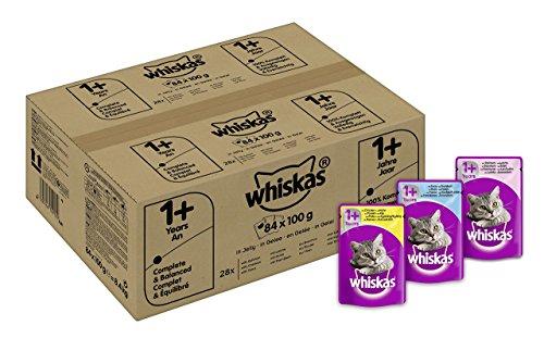 Whiskas Katzenfutter 1+ für erwachsene Katzen - saftige Fisch- und Geflügel-Auswahl in Gelee/84 Portionsbeutel (84 x 100 g) (Box 1 Lange)