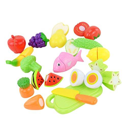 Sharplace 16-Teilig Kinder Pädagogisches Spielzeug - Künstliche Lebensecht Obst Gemüse Schneidebrett Messer Set - Kinder Rollespiel Küchenspielzeug - Spielzeug B - Zitrone Künstliche Scheiben