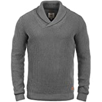 Redefined Rebel Major Pull d'hiver Pull en Grosse Maille Pull-Over Tricot pour Homme avec Col Châle 100% Coton