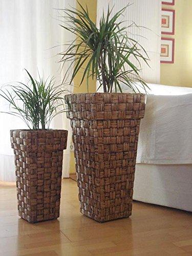 "Casa Mina Wasserhyazinthe Blumenkübel Übertöpfe Pflanzkübel Blumentopf 2er Set \""Kandal\"" braun 70/50cm"