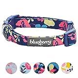 Blueberry Pet Fein Gefertigtes Inniges Blumendruck Hundehalsband in Marineblau für Kleine Hunde, S, Hals 30cm-40cm