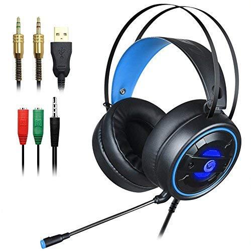 DLAND Gaming-Headset mit Mic und Changeable LED-Licht für Laptop-Computer, Handy, PS4 und Sohn 3,5 mm Wired Noise Isolating Gaming Kopfhörer-Lautstärkeregler.