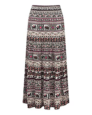 Cotton Traders Womens Ladies Skirt Elephant Print Boho Hippy Long Maxi