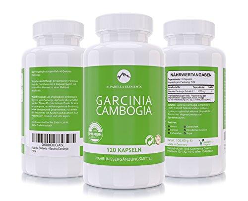 Garcinia Cambogia Extrakt von Alparella Elements | 120 vegane Kapseln | 1500 mg hochdosiert | 60% HCA | Hergestellt in Deutschland