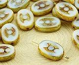 8pcs Picasso Marrón Ópalo piedra de la Luna Blanca de la Ventana de Tabla de Corte Plano 3 Puntos Oval checa Perlas de Vidrio de 9 mm x 14mm