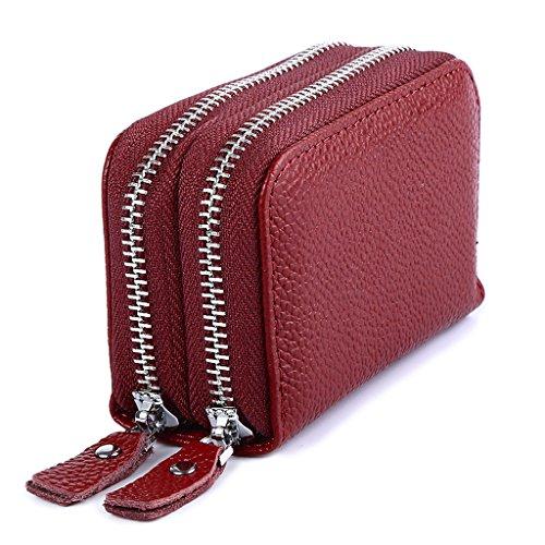 Mcvilla Echt Leder Scheckkartenetui Kreditkartenetui Visitenkartenetui Geldbeutel Minibörse RFID-Blocking (Rot) Rot