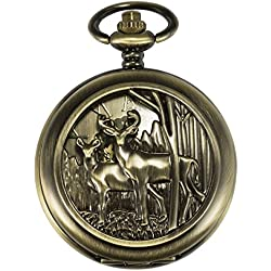 ManChDa® Unique Reindeer Pocket Watch Bronze Hollow Case Skeleton Mechanical for Men Women Chain + Gift Box