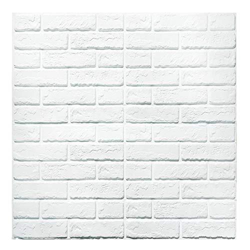 3D Ziegel Tapete, Waandpaneele Stereo Wandtattoo Papier Abnehmbare selbstklebend Tapete für Schlafzimmer Wohnzimmer moderne Hintergrund TV-Decor sq ft 3.875/pcs (neuer stil Weiß 5 Stück)