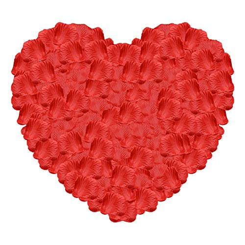 Silk Rose Petals Artificial Flower Petals for Wedding Valentine Day Home Party Vase Decor Wedding Bridal Decoration,RED Rose Point Dessert