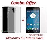 Yureka Black / Yu Yureka Black / Micromax Yu Yureka Black (COMBO OFFER) Soft Silicone Flexible Crystal Clear Back Case Cover + Tempered Glass Screen Protector (5 inch Display) BY YuniKase