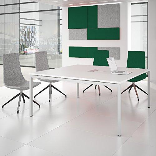 NOVA Konferenztisch 160x164cm Weiß mit ELEKTRIFIZIERUNG Besprechungstisch Tisch, Gestellfarbe:Weiß