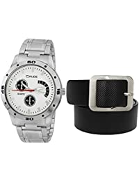 Crude Combo Of White Dial Watch-rg707 With Black Leather Belt For Men's & Boy's
