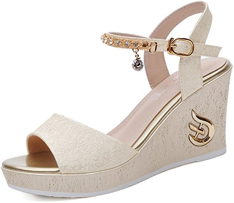 SANDALIAS Duo Chanclas Sandals Zapatos de Mujer PU Primavera Verano Wedge Heel Open Toe Split Joint para Vestido...
