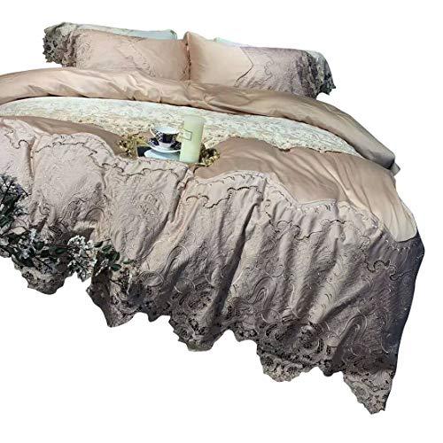 Klerokoh Kontrahierte High-End-Spitze langstapelige Baumwolle Baumwollbettwäsche Vier Sätze (Size : Queen)