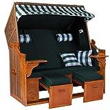 Möbelcreative Strandkorb Ostsee ROYAL XXL Volllieger - Extra Breit - 150 cm in grün weiß inklusive Schutzhülle, ideal für Garten und Terrasse