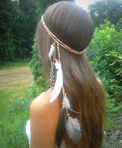 Meiwo Feder Stirnband Fascinator Quasten Haarband Böhmen Pfauenfeder Quaste Hippie Nationalen Stil Haarschmuck für Frauen Mädchen