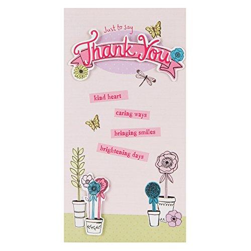 Hallmark Danksagungskarte, englische Aufschrift, Sternendesign, mittlere Größe, dünn Blumentopf