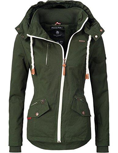 Navahoo Damen Outdoorjacke Übergangs Jacke Rehauge (vegan hergestellt) Grün Gr. S (Baumwolle-fleece-mantel)