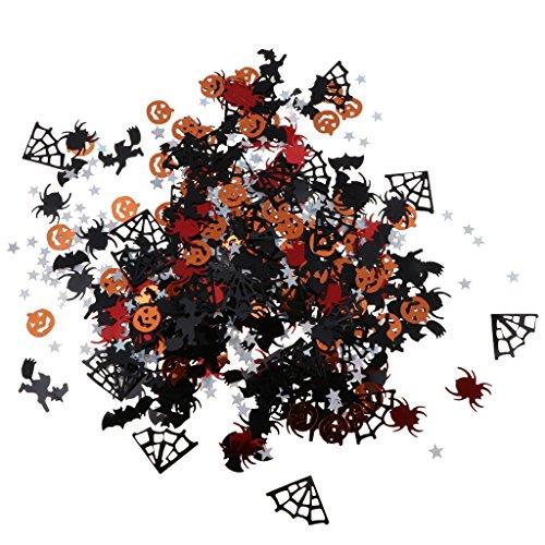 Homyl 15g Halloween Konfetti Tischkonfetti Streudeko mit Kürbis Spinnen und Fledermaus Muster, aus Plastik