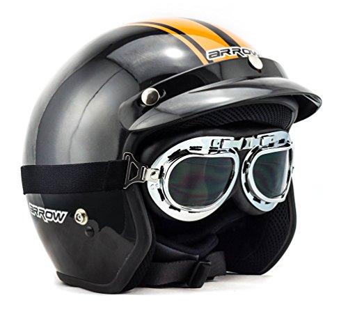 Arrow Helmets Jet–Pilot y motocicleta Aviador Roller 664, color negro plata, Uni Size