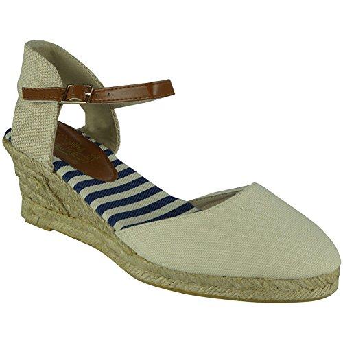 LoudLook Womens Ankle Strap Wedges Ladies Espadrilles Comfy Mid Heel Canvas Shoes Size 5