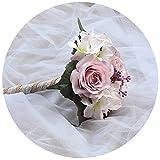 TOPQUEEN Hochzeitsstrauß Brautstrauß für die Braut Braut Bouquet Blumen Kristall-Diamant-Schaum-Rosen-Holding-Blumen mit schönen Band-Brautbrautjunfer Wedding Bouquet Artificial Silk Blumen (F17)