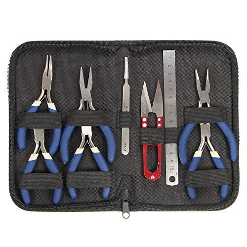 Bargain World 9Pcs / Set Mini Flach Lange Rundzange Schmuckherstellung Friesen Tools Kit