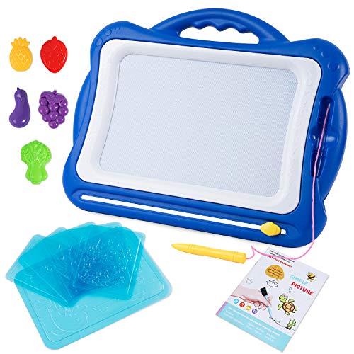 Sgile grande lavagna magnetica per bambini 2, 3, 4 anni - lavagnetta magica cancellabile con schede schizzo e album, tavolo da disegno magnetico - giocattoli educativo, portatile - 42 x 33.5 cm, blu
