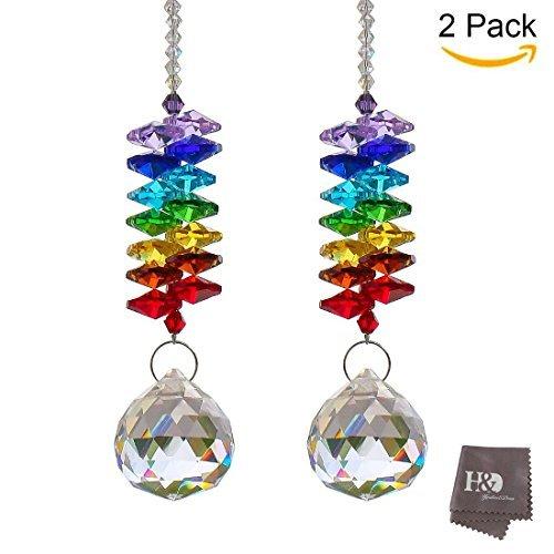 H&D Kronleuchter Kristall Prismen Regenbogen Chakra Sonnenfänger mit Perlen Dekoration zum Aufhängen Ornament 2