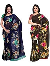 Anand Sarees Faux Georgette Multi Color Printed Combo Saree With Blouse Piece (1052_1_1052_2 )