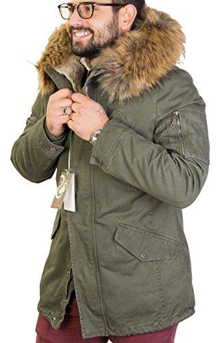 Giubbotto parka uomo invernale (verdone, senape) interno di pelliccia di pecora staccabile cappuccio con pelliccia (pelliccia staccabile) uomo antony morale 2 colori art.252-21 (2xl 54, verdone)