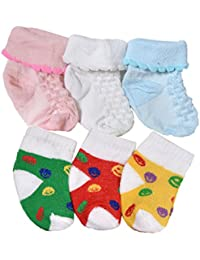 Crux&hunter Unisex Cotton Summer Socks for Baby Boy's and Girl's, 3-12 months, (Multicolour, duo2) - Pack of 6 Pairs